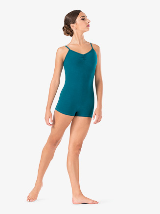 Womens Gathered V-Front Camisole Dance Shorty Unitard - Style No TH5537