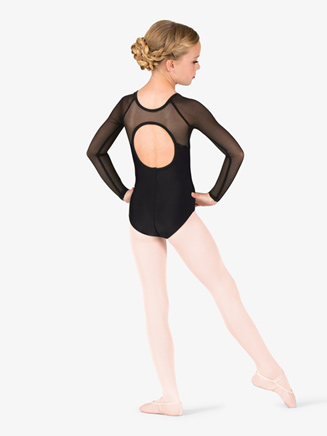 Girls Mesh Cutout Back Long Sleeve Leotard - Style No TH5553C