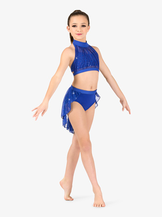 Girls Performance Twinkle Sequin Mesh Halter Crop Top - Style No TW300