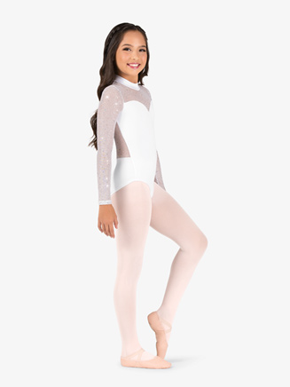 Girls Performance Twinkle Sequin Mesh Long Sleeve Leotard - Style No TW321