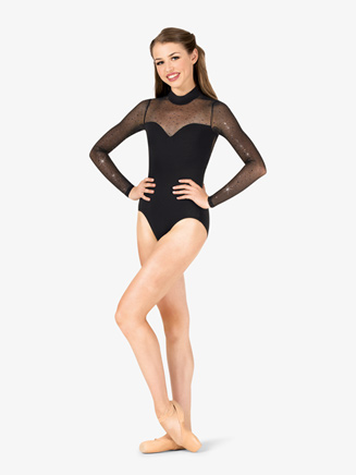 Womens Performance Twinkle Sequin Mesh Long Sleeve Leotard - Style No TW621