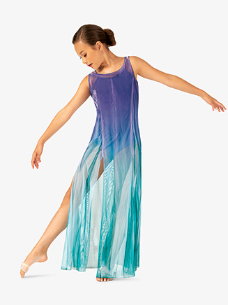 Girls Hand Painted Floor Length Mesh Lyrical Dress - Style No WC232C