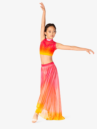 Girls Hand Painted Open Front Long Lyrical Skirt - Style No WC237C