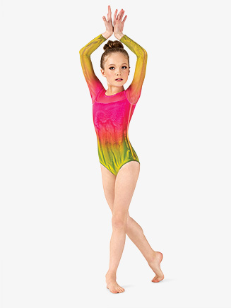Girls Hand Painted Mesh Long Sleeve Leotard - Style No WC9006C