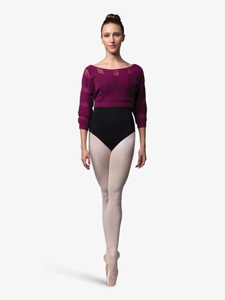 Womens Stripe Boatneck Cropped Warm Up Sweater - Style No Z7226